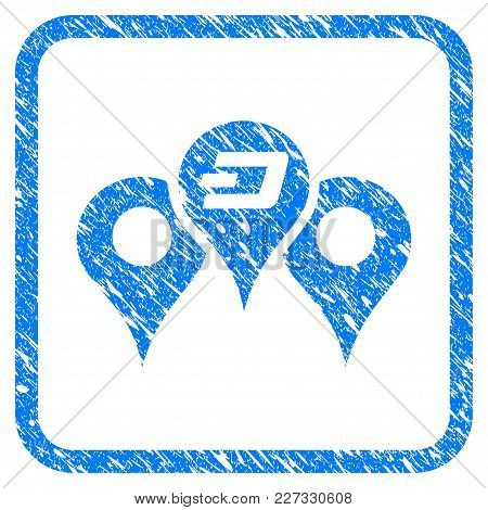 Dashcoin Map Markers Rubber Seal Stamp Imitation. Icon Vector Symbol With Grunge Design And Unclean
