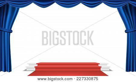 Podium Under Blue Theater Curtain Vector. Ceremony Award. Presentation. Pedestal Winners. Isolated I