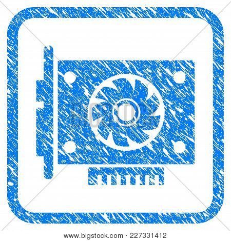 Gpu Card Rubber Seal Stamp Imitation. Icon Vector Symbol With Grunge Design And Dust Texture In Roun