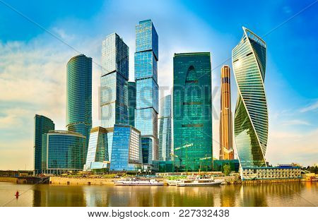 Moscow City skyline . Moscow International Business Centre at day time with Moskva river in foreground
