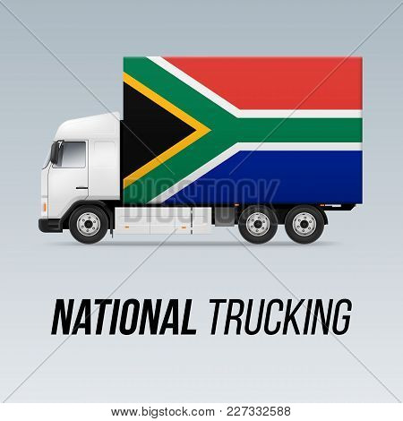 Symbol Of National Delivery Truck With Flag Of South Africa. National Trucking Icon And Flag Design