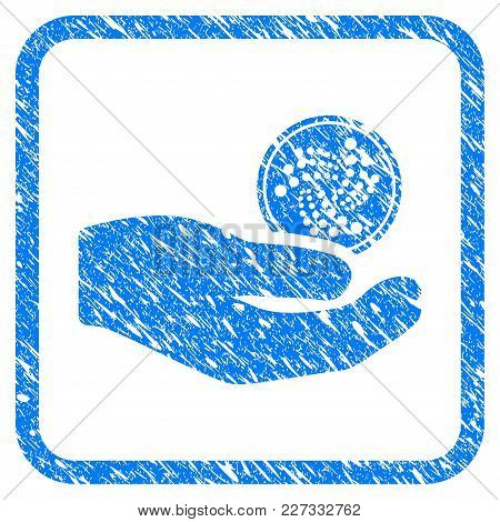 Iota Coin Payment Hand Rubber Seal Stamp Imitation. Icon Vector Symbol With Grunge Design And Corros
