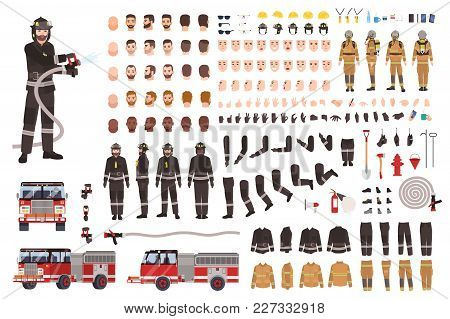 Firefighter Creation Set Or Constructor. Collection Of Fireman Body Parts, Facial Expressions, Prote