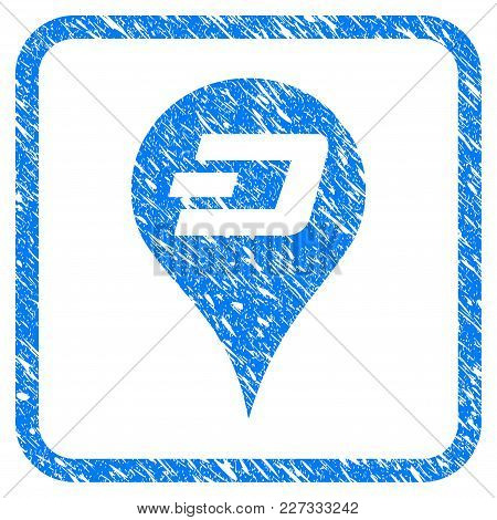 Dashcoin Map Pointer Rubber Seal Stamp Imitation. Icon Vector Symbol With Grunge Design And Unclean