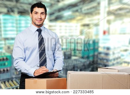 Clipboard One Person Manual Worker Horizontal Happy Parcel Business