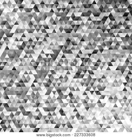 Abstract Monochrome Regular Triangle Tile Mosaic Background - Modern Gradient Polygon Vector Graphic