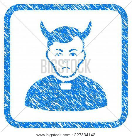 Devil Priest Rubber Seal Stamp Imitation. Icon Vector Symbol With Grunge Design And Unclean Texture