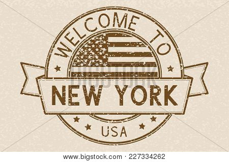 Welcome To New York, Usa Travel Stamp With Decoration. Brown Sign On Beige Background. Vector Illust