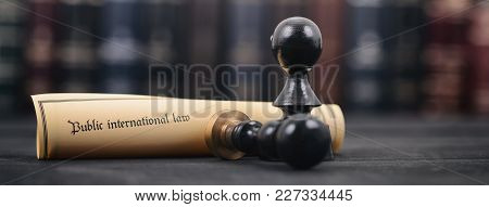 Law And Justice, Legality Concept, Notary Seals, Public International Lawl On A Wooden Background, L