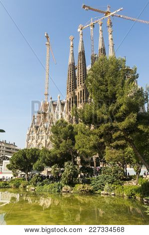 Nativity Facade Of La Sagrada Familia - The Impressive Cathedral Designed By Gaudi, Barcelona, Spain