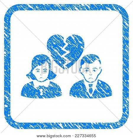 Divorce People Rubber Seal Stamp Imitation. Icon Vector Symbol With Grunge Design And Unclean Textur