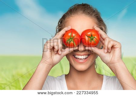 Eyes Tomatoes Woman Covering Young Adult Red Background