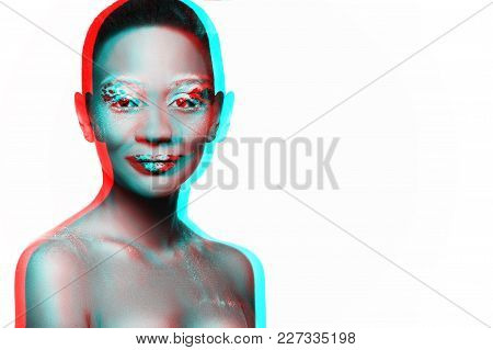 Photo Of A Young Girl Model With An African Look With A Crisp Makie, Processed In The Style Of Three