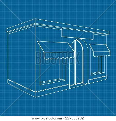 Store Front. White Outline Drawing On Blueprint Background. Vector Illustration