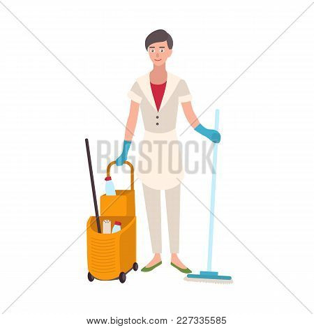 Smiling Woman Dressed In Uniform Holding Floor Mop And Bucket Cart. Female Home Cleaner, Cleaning Or