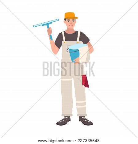 Happy Man Dressed In Uniform Standing And Holding Bucket And Cleaning Wiper. Male Window Cleaner, Ho