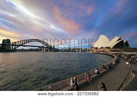 Sydney, Australia - Circa September 2016: Golden Hour Sunset View Of Famous Sydney Landmarks. Sydney