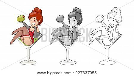 Beautiful Girl Sit In Martini Glass With Olive. Pin-up Cartoon Character In Cocktail Drink. Isolated