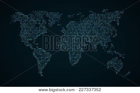 Abstract World Map Of Binary Code. Glowing Map Of The Earth. Dark Blue Background. Blue Lights. Sci-