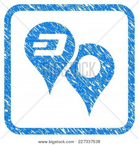 Dashcoin Map Pointers Rubber Seal Stamp Imitation. Icon Vector Symbol With Grunge Design And Unclean