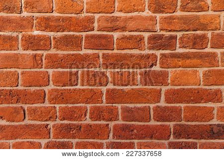 Brick Wall Texture Background. Red Brick Texture. Builduing Facade. Empty Room With Brick Wall. Grad