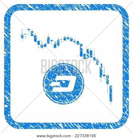 Dashcoin Panic Fall Chart Rubber Seal Stamp Imitation. Icon Vector Symbol With Grunge Design And Unc