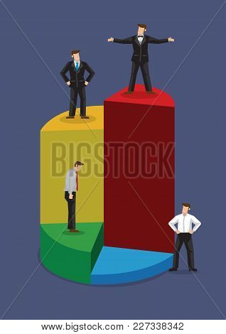 Cartoon Businessman Stand On Different Levels Of Pie Chart. Creative Vector Business Illustration On
