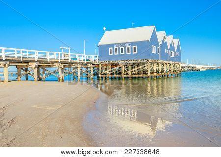 Busselton, Australia - Jan 1, 2018: Busselton Jetty In Busselton Beach, Wa, Reflected On The Sea. At