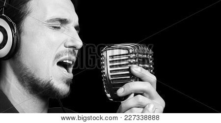 Man sing mic microphone singer rock star nightlife poster