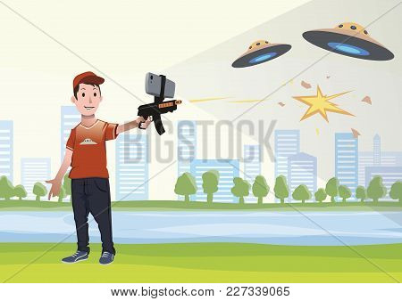 Augmented Reality Games. Boy With Ar Gun Playing A Shooter. Game Weapon With Mobile Phone. Vector Il