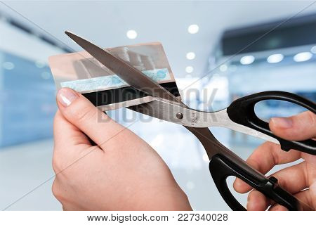 Cut Card Credit Scissor Numbers Color Blue