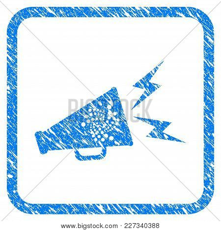 Iota Alert Megaphone Rubber Seal Stamp Imitation. Icon Vector Symbol With Grunge Design And Dirty Te