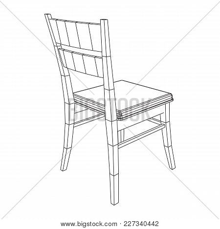 Chair With Backrest Wireframe Low Poly Mesh Vector Illustration