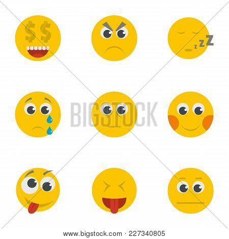 Grin Icons Set. Cartoon Set Of 9 Grin Vector Icons For Web Isolated On White Background