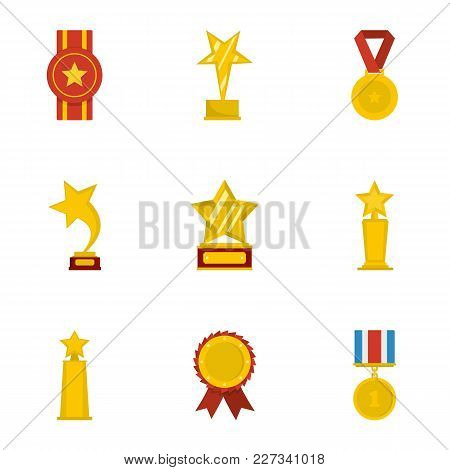 Praise Icons Set. Cartoon Set Of 9 Praise Vector Icons For Web Isolated On White Background
