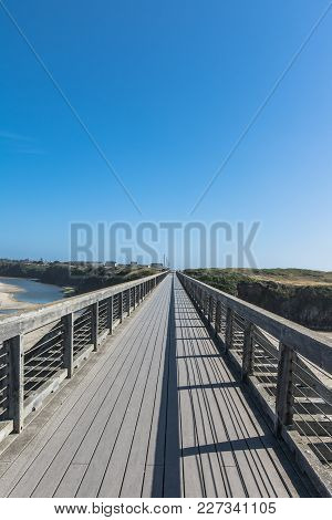 View Of The Pudding Creek Trestle In Fort Bragg, California