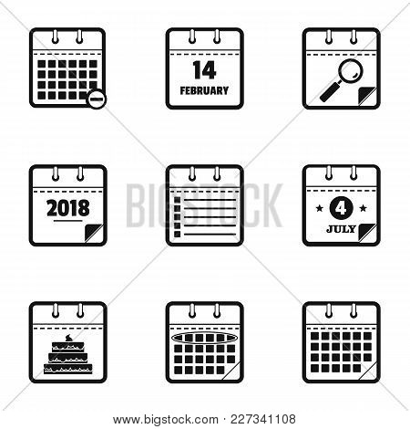 New Calendar Icons Set. Simple Set Of 9 New Calendar Vector Icons For Web Isolated On White Backgrou