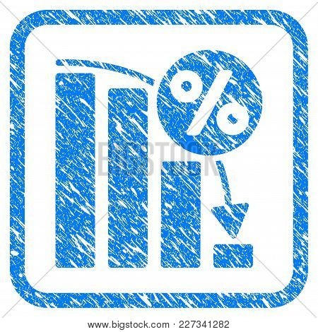 Falling Percent Bar Chart Rubber Seal Stamp Watermark. Icon Vector Symbol With Grunge Design And Unc