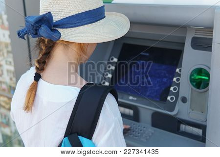The Girl Dials The Password In The Atm