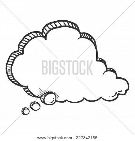 Vector Single Sketch Comics Speech Bubble. Comix Balloon