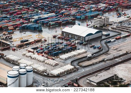 Barcelona, Spain, February 5, Large Open Warehouse With Multi-colored Cargo Containers, Top View