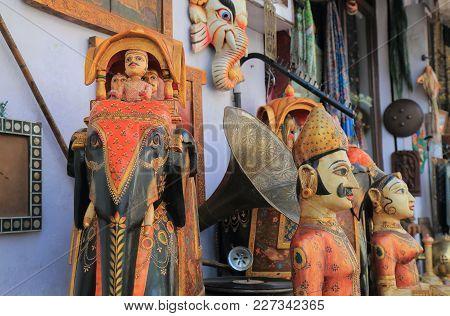 Udaipur India - October 17, 2017: Souvenir Shop Sells Antiques In Udaipur