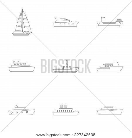 Sailor Icons Set. Outline Set Of 9 Sailor Vector Icons For Web Isolated On White Background