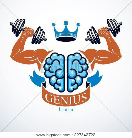 Brain With Strong Bicep Hands Of Bodybuilder. Power Brain Emblem, Genius Concept.  Brain Training, G