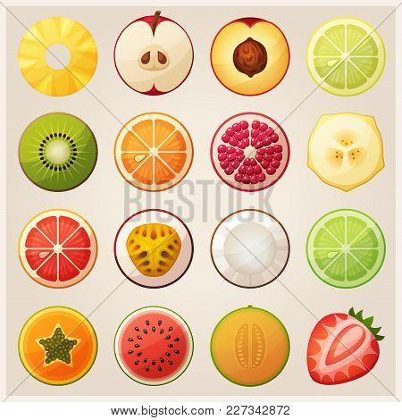 Set Of Fruit Halves. Slices Of Pineapple Apple, Peach Lemon, Kiwi Orange, Pomegranate Banana, Grapef