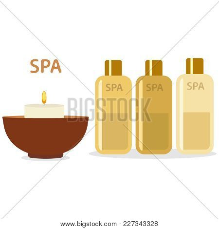 Spa Therapy And Beauty Vector Illustration. Set Of Spa Goods Bowl, Candle, Bottles With Aromatic Oil