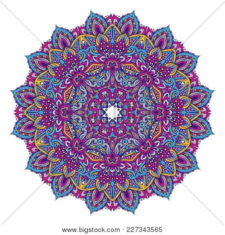 Vector Hand Drawn Mandala Pattern Of Henna Floral Elements Based On Traditional Asian Ornaments. Pai