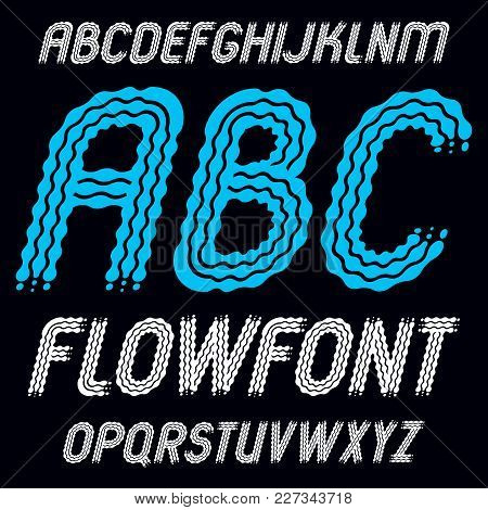 Set Of Trendy Pop Vector Capital English Alphabet Letters, Abc Isolated. Rounded Bold Italic Retro T