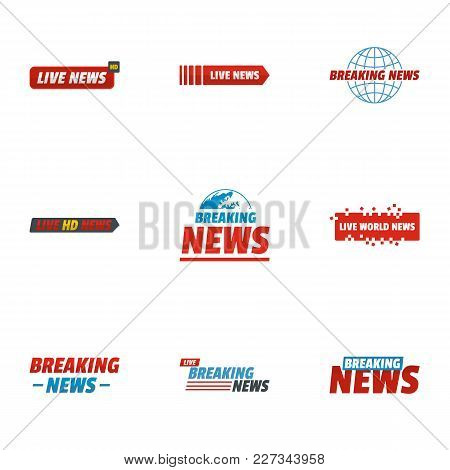 News Story Icons Set. Flat Set Of 9 News Story Vector Icons For Web Isolated On White Background