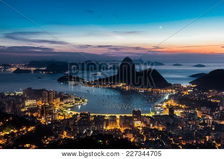 Sunrise In The City Of Rio De Janeiro Observed In The Lookout Dona Marta.